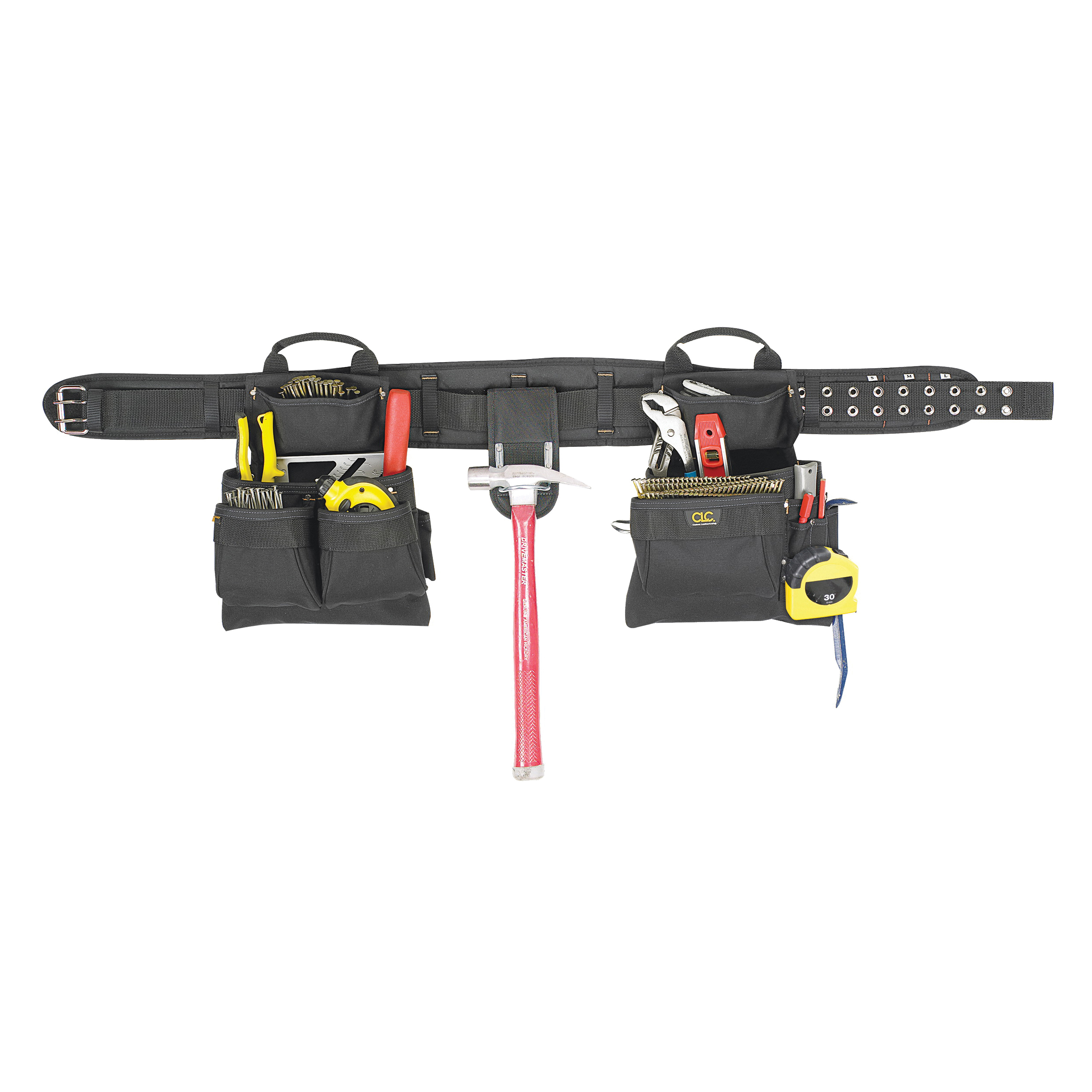 Picture of CLC Tool Works 5608 Tool Belt, 29 to 46 in Waist, Polyester, Black, 17 -Pocket