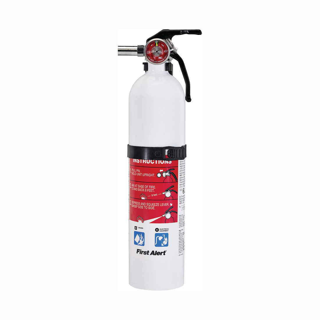 Picture of FIRST ALERT REC5 Rechargeable Fire Extinguisher, 2 lb Capacity, Sodium Bicarbonate, 5-B:C Class
