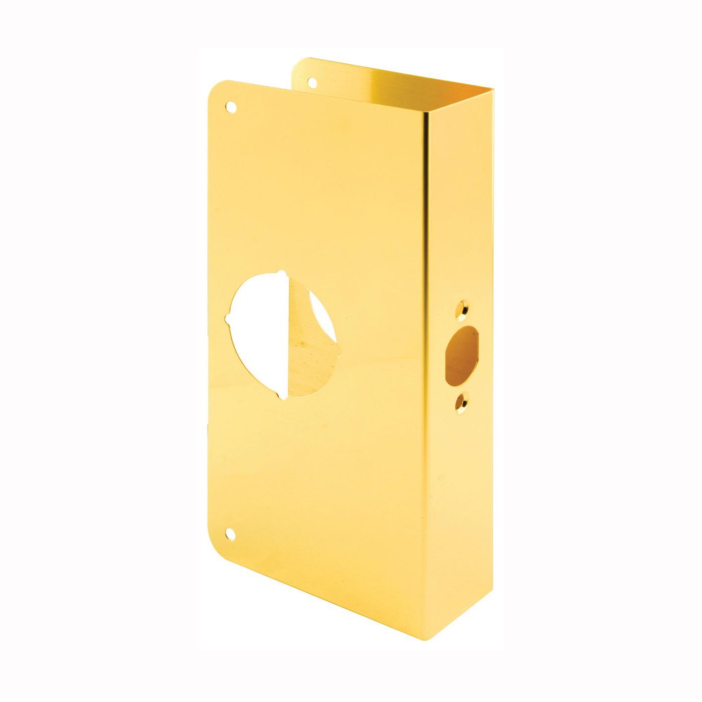 Picture of Prime-Line U 9548 Lock and Door Reinforcer, 2-3/8 in Backset, 1-3/4 in Thick Door, Brass, Brass, 9 in H