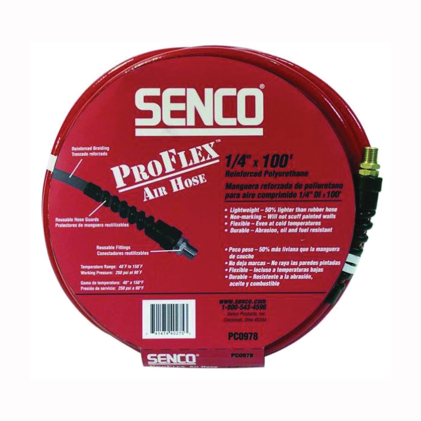 Picture of SENCO PC0978 Air Hose, 1/4 in OD, 100 ft L, MPT, 250 psi Pressure, Polyurethane