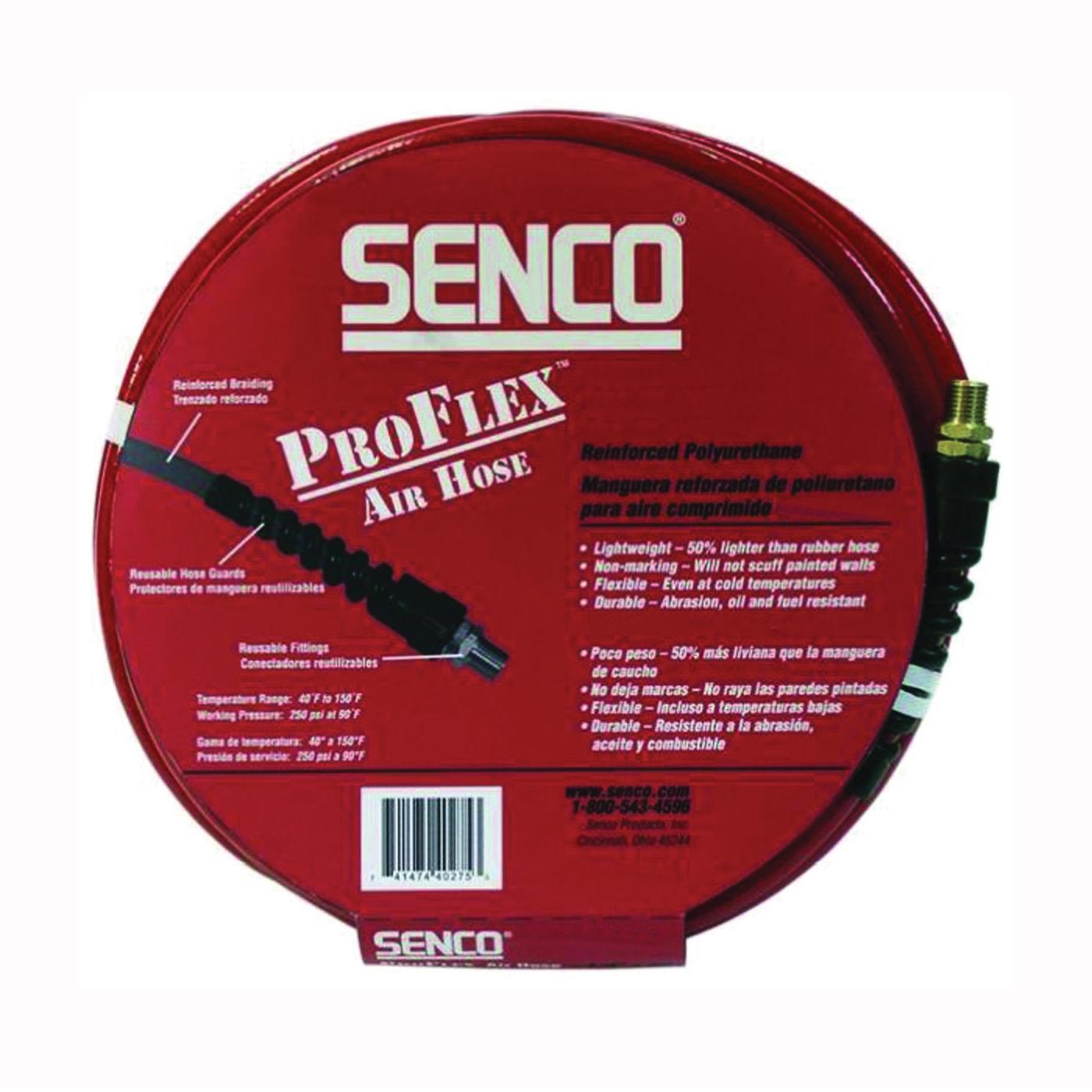 Picture of SENCO PC0979 Air Hose, 3/8 in OD, 50 ft L, MPT, 250 psi Pressure, Polyurethane
