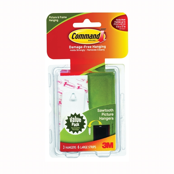 Picture of Command 17042 Picture Hanger, 5 lb, Plastic, White, 1-1/8 in Opening, Adhesive Strip Mounting