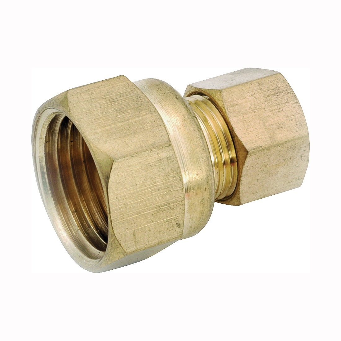 Picture of Anderson Metals 750066-0608 Tubing Coupling, 3/8 x 1/2 in, Compression x FIP, Brass