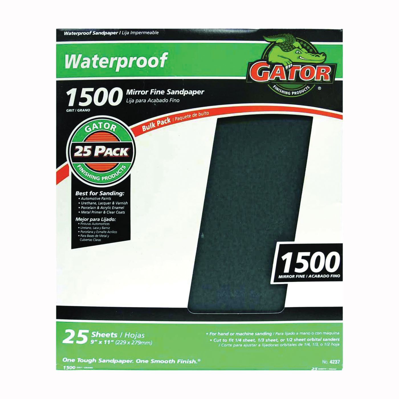 Picture of Gator 3287 Sanding Sheet, 11 in L, 9 in W, 1500 Grit, Silicone Carbide Abrasive
