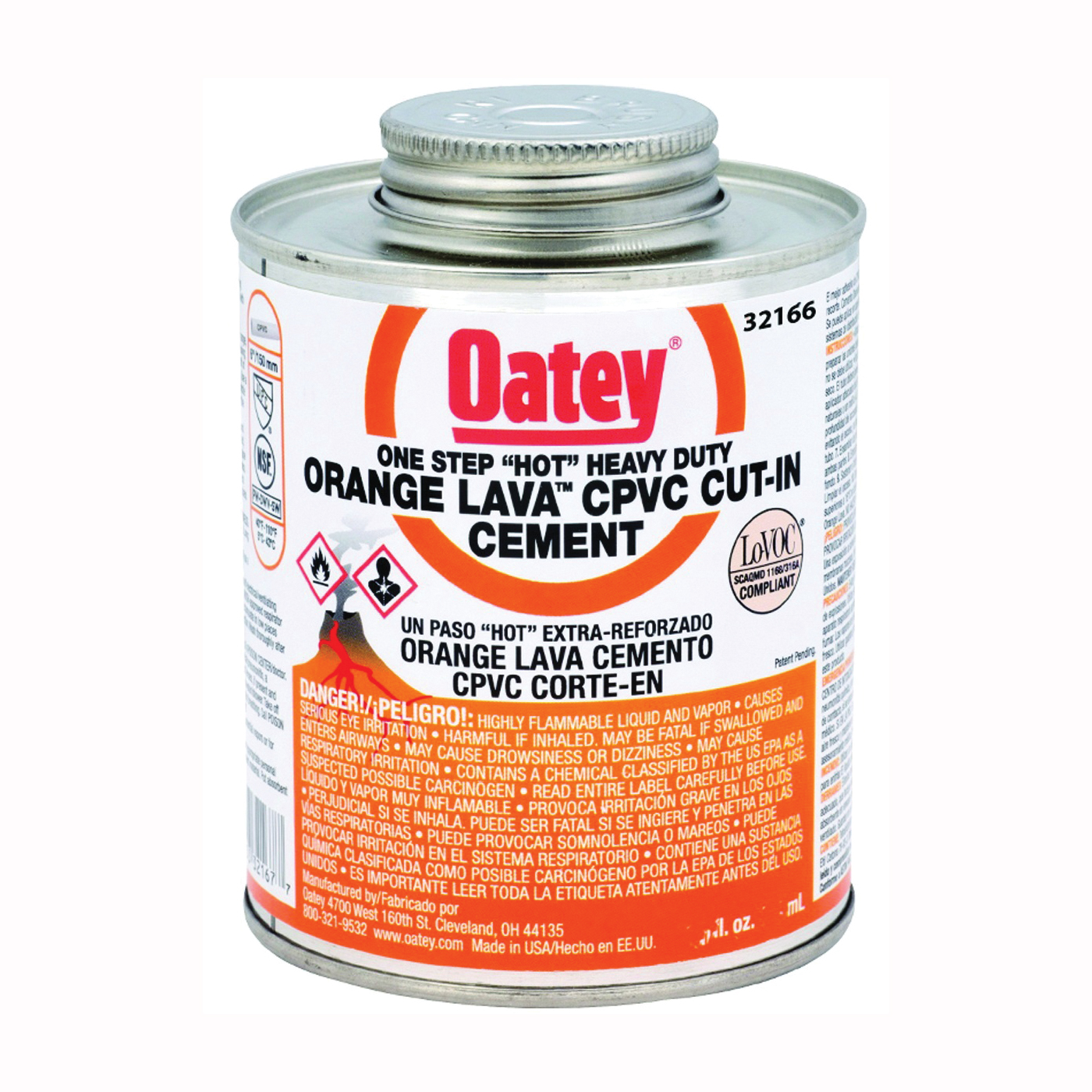 Picture of Oatey 32166 Solvent Cement, 8 oz, Can, Liquid, Orange