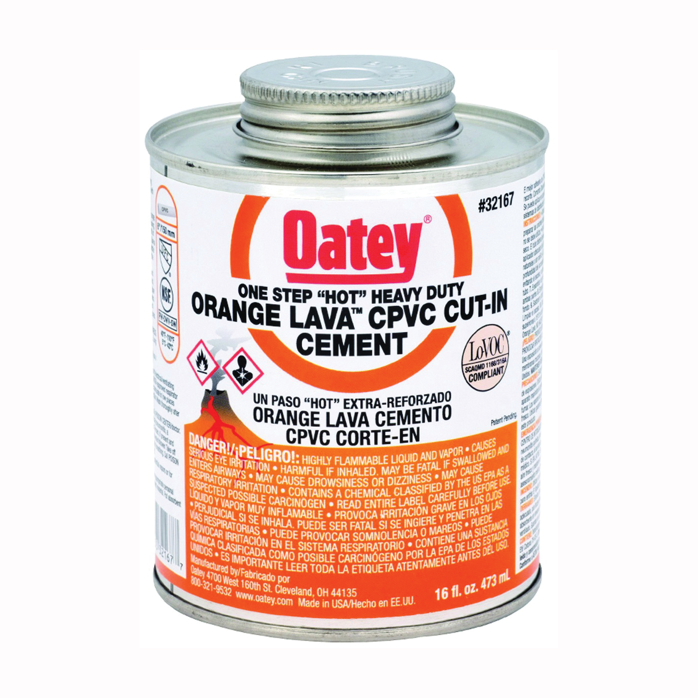 Picture of Oatey 32167 Solvent Cement, 16 oz, Can, Liquid, Orange