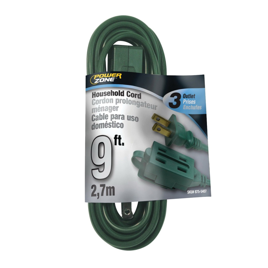 Picture of PowerZone OR780609 Extension Cord, 16 AWG Cable, 9 ft L, 13 A, 125 V, Green Jacket