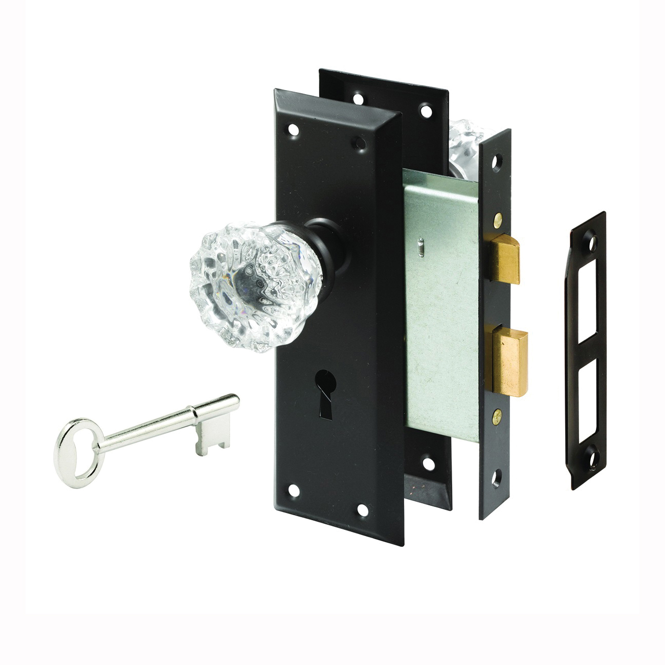 Picture of Defender Security E 2497 Door Lock Set, Keyed Key, Steel, Bronze, 2-3/8 in Backset, 1-1/4 in Thick Door