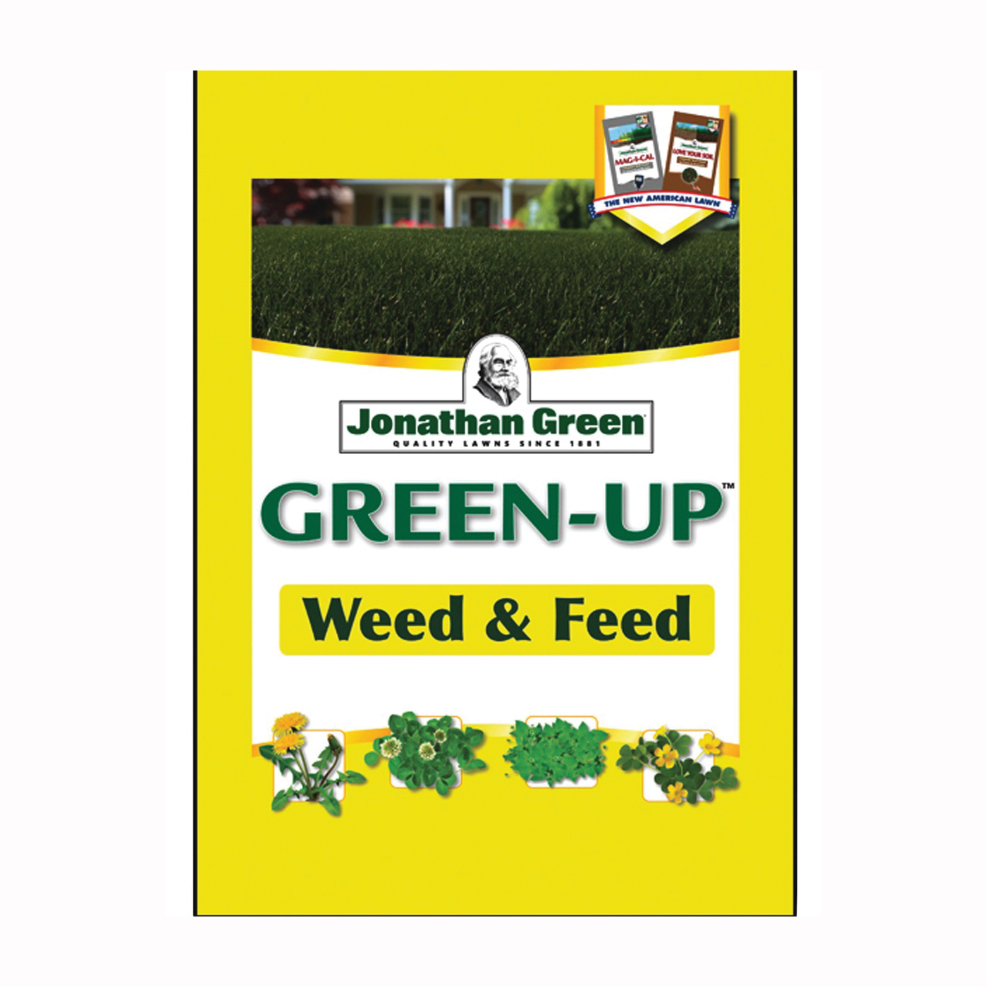 Picture of Jonathan Green Green-Up 12345 Weed and Feed Lawn Fertilizer, Granular, Ammonia, Sulphur, 45 lb Package, Bag