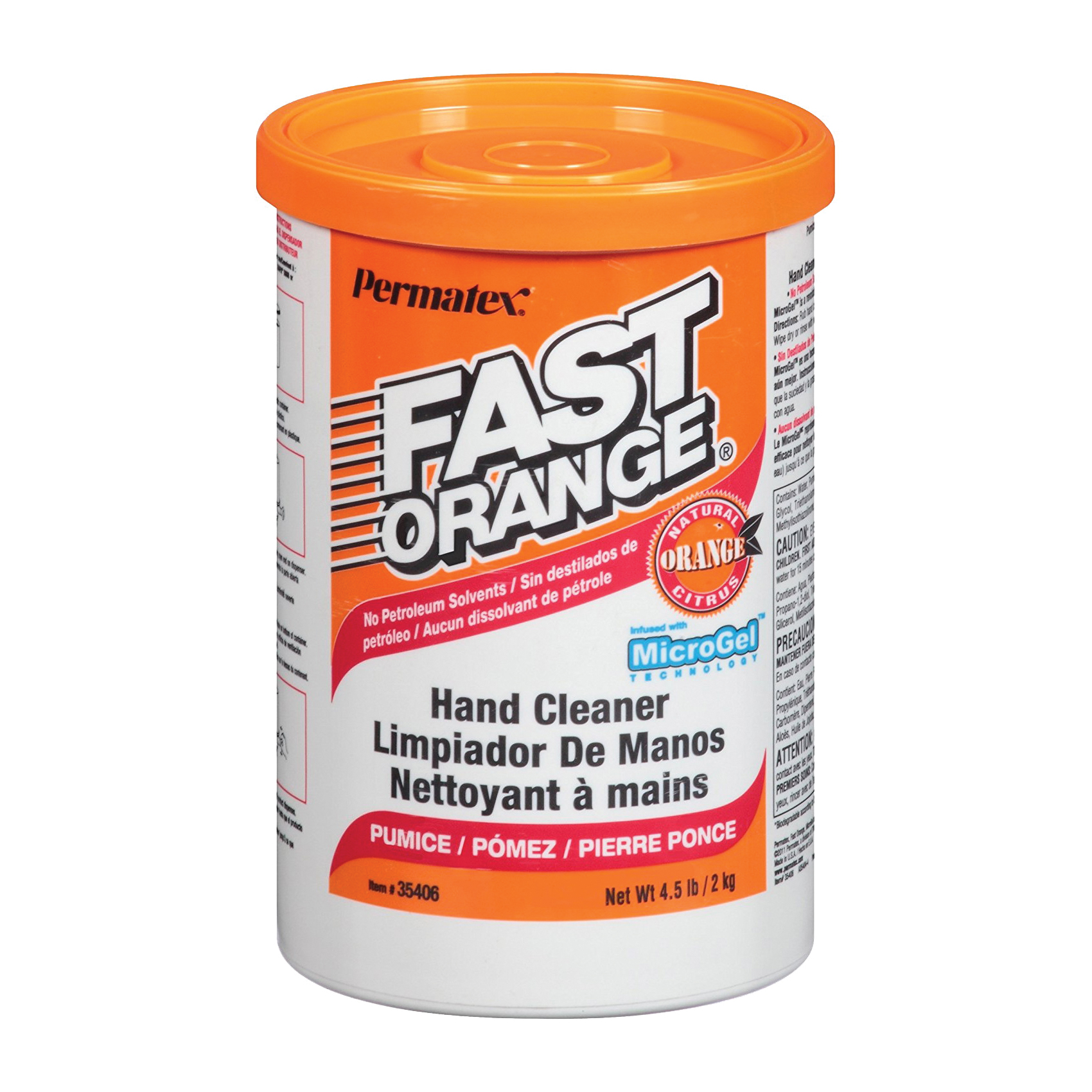 Picture of Permatex 35406 Hand Cleaner, Paste, White, Orange, 4.5 lb Package, Tub
