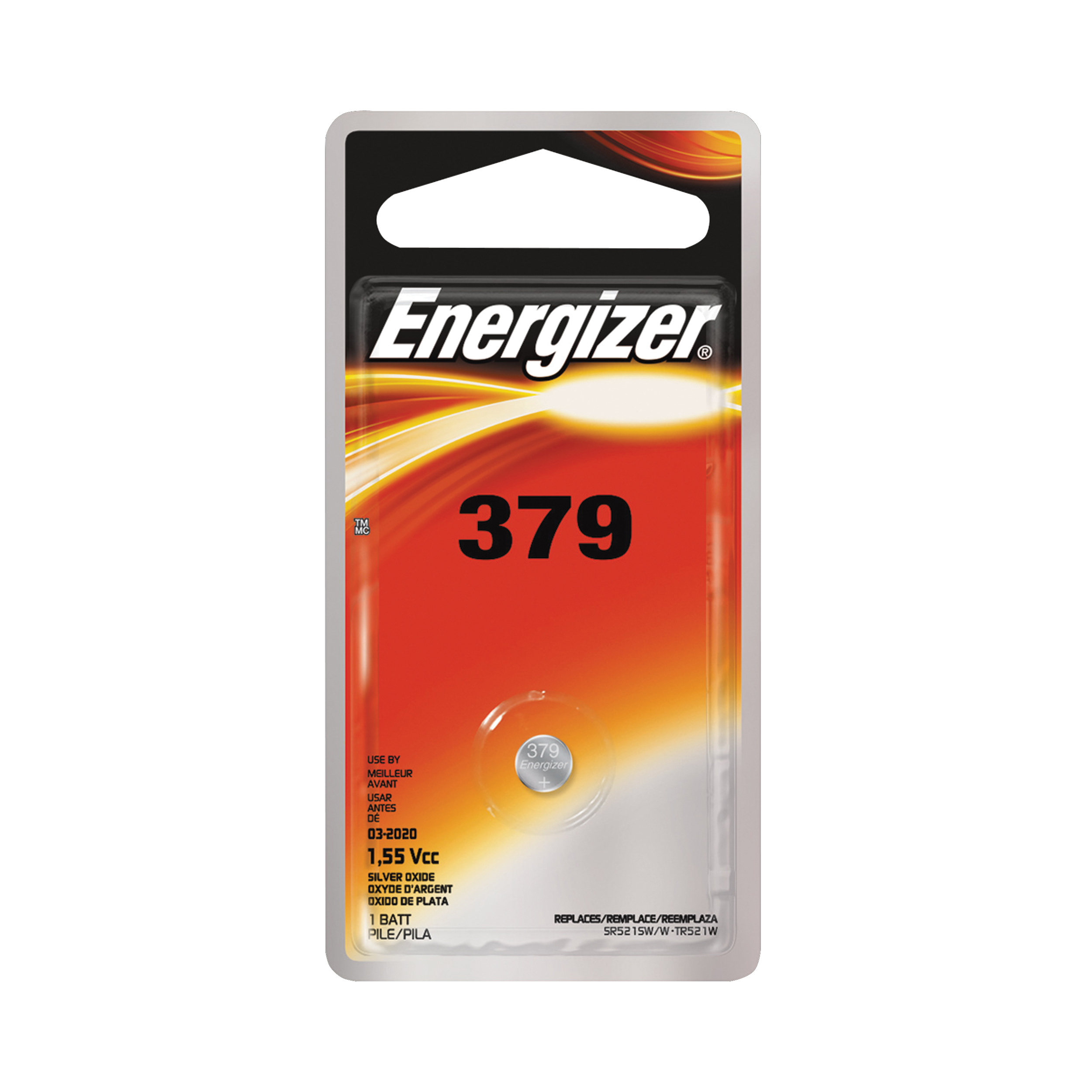 Picture of Energizer 379BPZ Coin Cell Battery, 1.5 V Battery, 14 mAh, 379 Battery, Silver Oxide