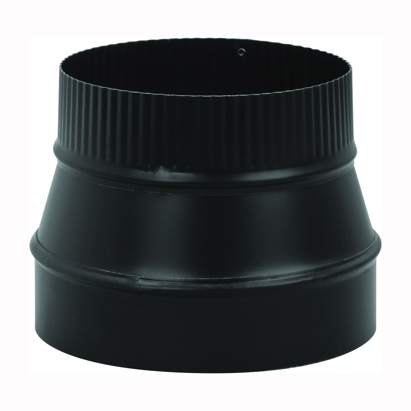 Picture of Imperial BM0079 Stove Pipe Reducer, 8 x 6 in, Crimp, 24 ga Thick Wall, Black, Matte