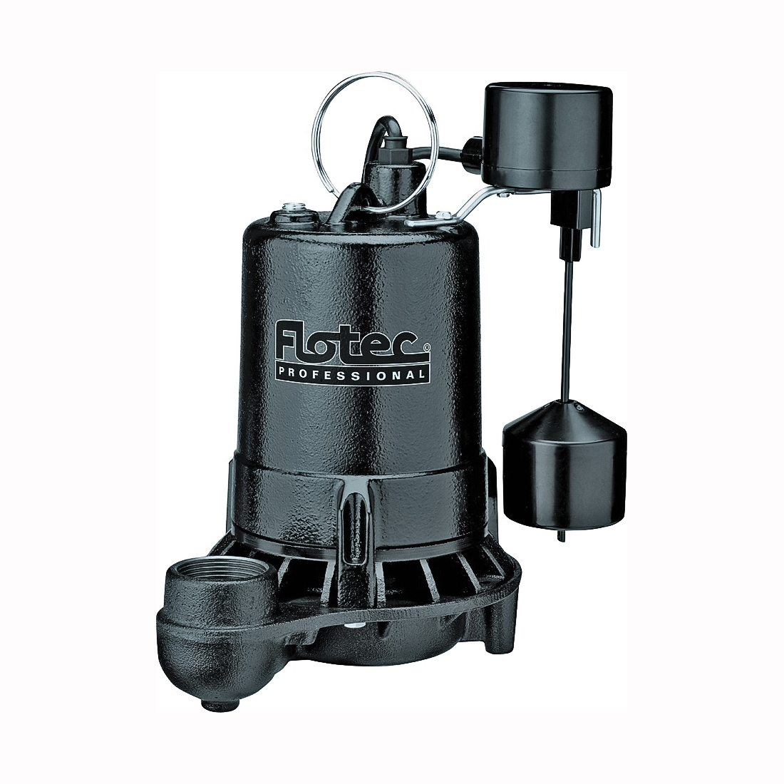 Picture of Flotec Professional E75VLT Sump Pump, 1-Phase, 7 A, 115 V, 0.75 hp, 1-1/2 in Outlet, 25 ft Max Head, 1800 gph