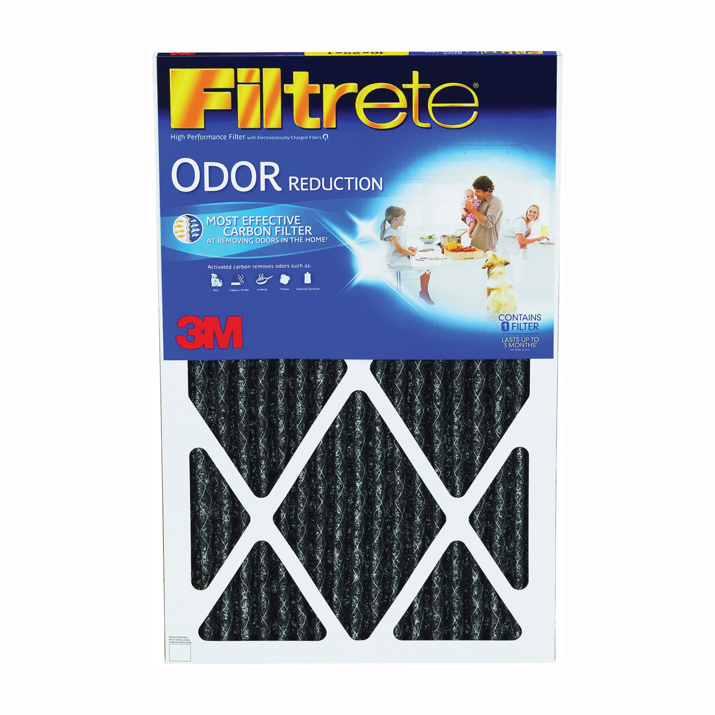 Picture of Filtrete HOME22-4 Air Filter, 30 in L, 20 in W, 11 MERV, 85 % Filter Efficiency, Carbon Filter Media