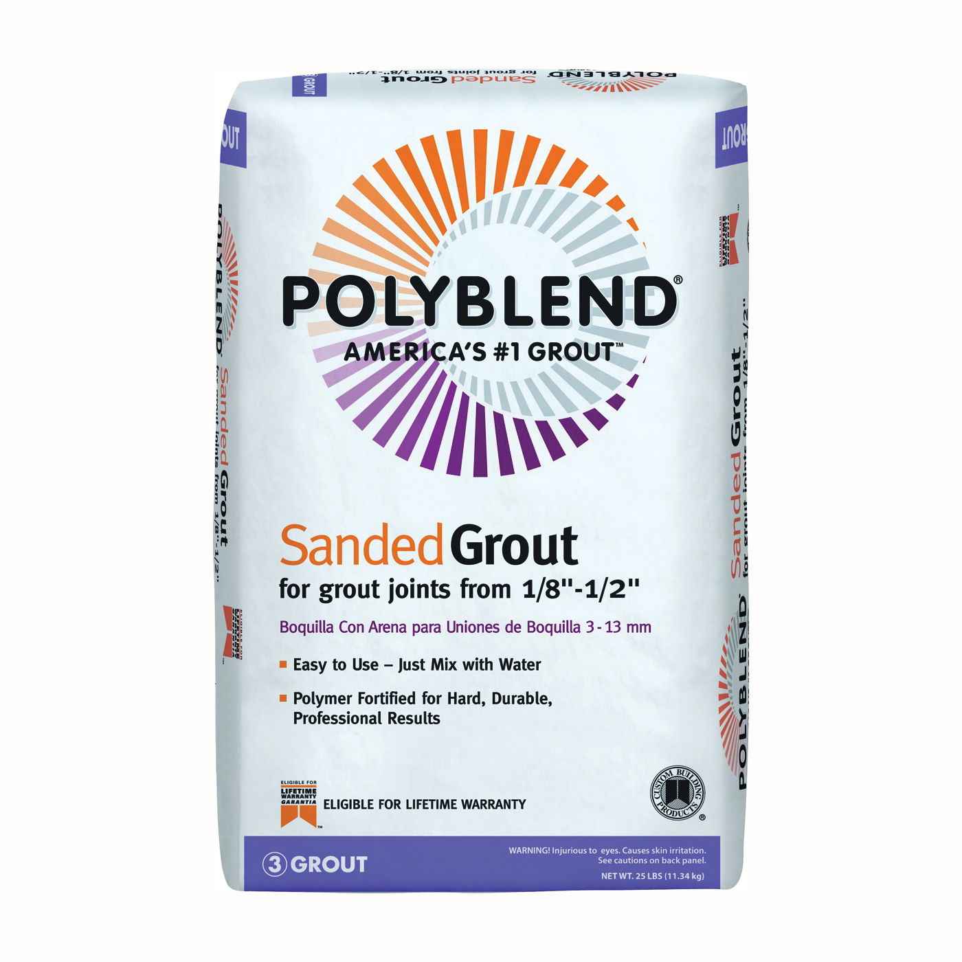 Picture of CUSTOM PBG38125 Tile Grout, Powder, Characteristic, Bright White, 25 lb Package, Bag