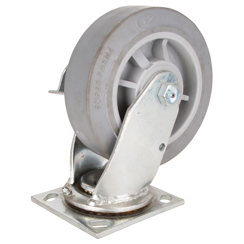 Picture of ProSource JC-T06 Swivel/Brake Caster, 6 in Dia Wheel, 2 in W Wheel, Thermoplastic Rubber Wheel, 500 lb