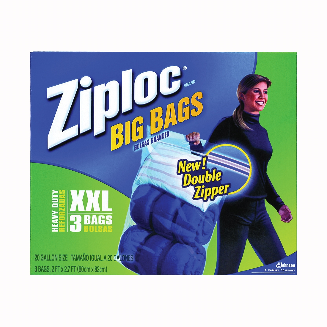 Picture of Ziploc Big Bag 71598 Flexible Tote, 20 gal Capacity, Plastic, Clear, Zipper Closure, 24 in L, 32-1/2 in W