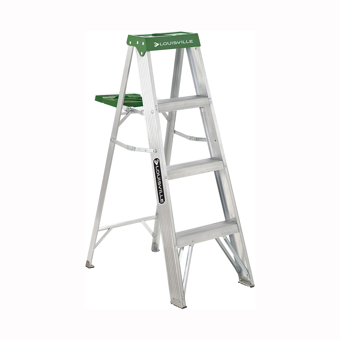 Picture of Louisville AS4004 Step Ladder, 102 in Max Reach H, 3-Step, 225 lb, Type II Duty Rating, 3 in D Step, Aluminum