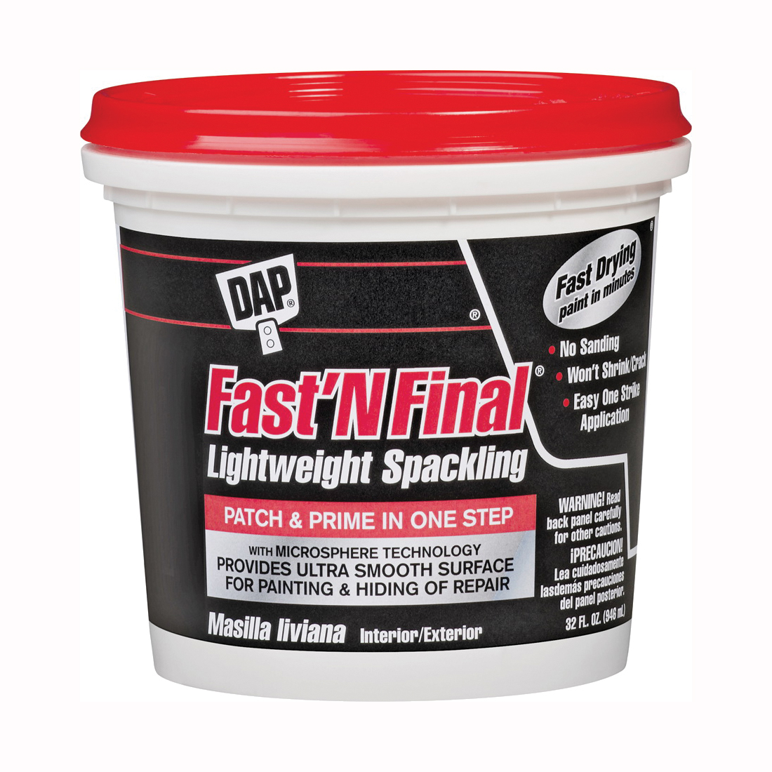 Picture of DAP 12142 Spackling Paste White, White, 1 qt, Tub