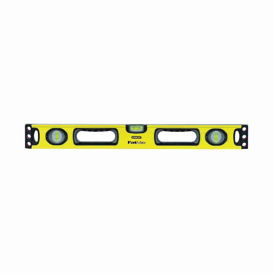 Picture of STANLEY 43-524 Box Beam Level, 24 in L, 3 -Vial, 2 -Hang Hole, Non-Magnetic, Aluminum, Yellow