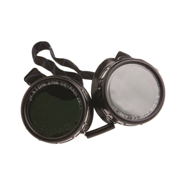 Picture of Forney 55311 Brazing Goggles, 1.97 in Lens, Clear Lens, #5 Lens, Plastic Frame, Black/Green Frame