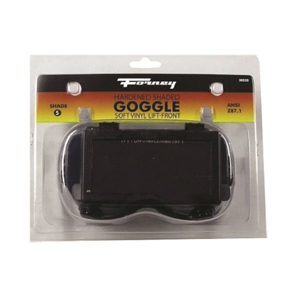 Picture of Forney 55320 Welding Goggles, 4-1/4 in L x 2 in W Lens, Glass Lens, Clear Lens, #5 Lens, Plastic Frame