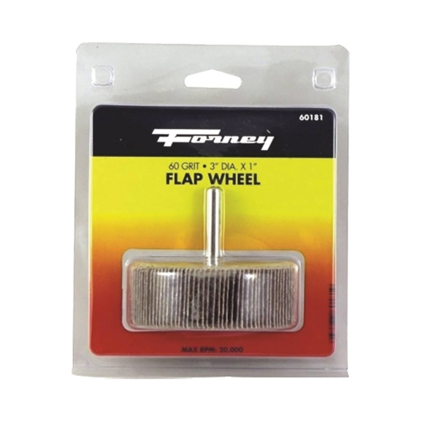 Picture of Forney 60181 Flap Wheel, 3 in Dia, 1 in Thick, 1/4 in Arbor, 60 Grit, Aluminum Oxide Abrasive