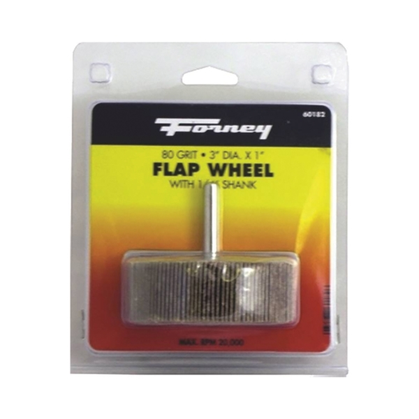Picture of Forney 60182 Flap Wheel, 3 in Dia, 1 in Thick, 1/4 in Arbor, 80 Grit, Aluminum Oxide Abrasive