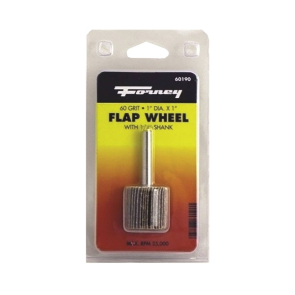 Picture of Forney 60190 Flap Wheel, 1 in Dia, 1 in Thick, 1/4 in Arbor, 60 Grit, Aluminum Oxide Abrasive
