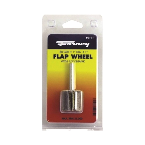 Picture of Forney 60191 Flap Wheel, 1 in Dia, 1 in Thick, 1/4 in Arbor, 80 Grit, Aluminum Oxide Abrasive