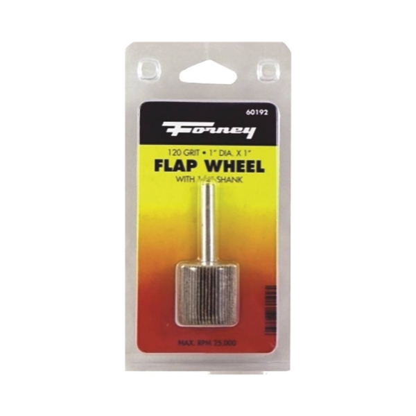Picture of Forney 60192 Flap Wheel, 1 in Dia, 1 in Thick, 1/4 in Arbor, 120 Grit, Aluminum Oxide Abrasive