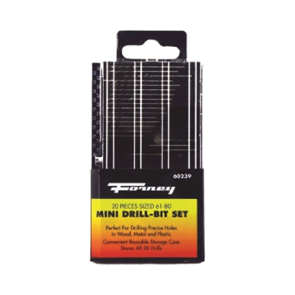 Picture of Forney 60239 Drill Bit Set, Mini, 20 -Piece, Steel