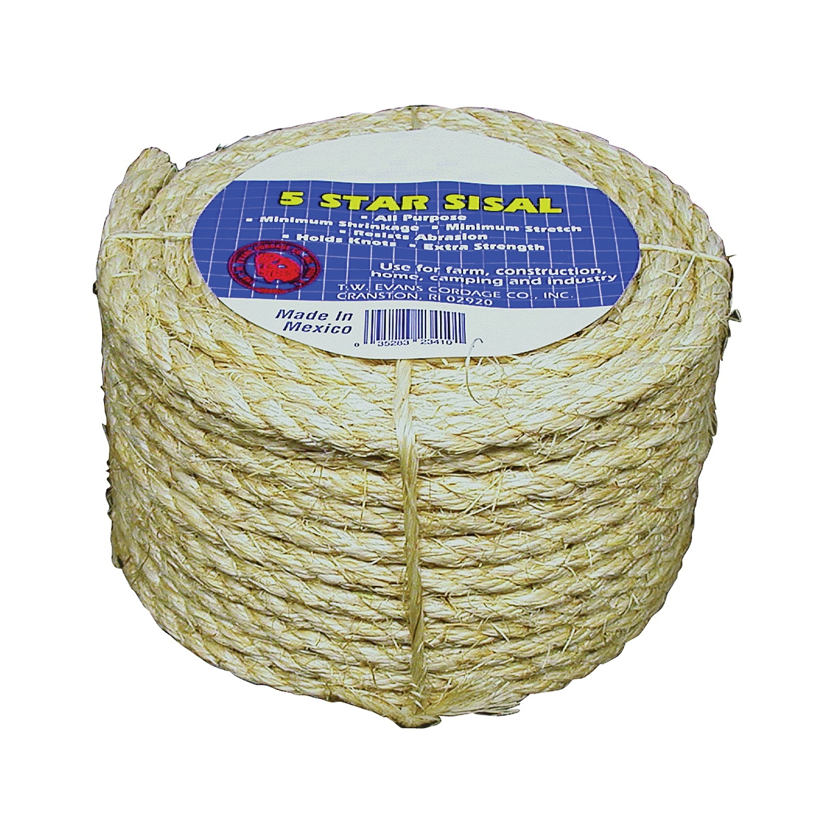 Picture of T.W. Evans Cordage 22-400 Fiber Rope, 3/8 in Dia, 732 ft L, Sisal, Natural, Coil