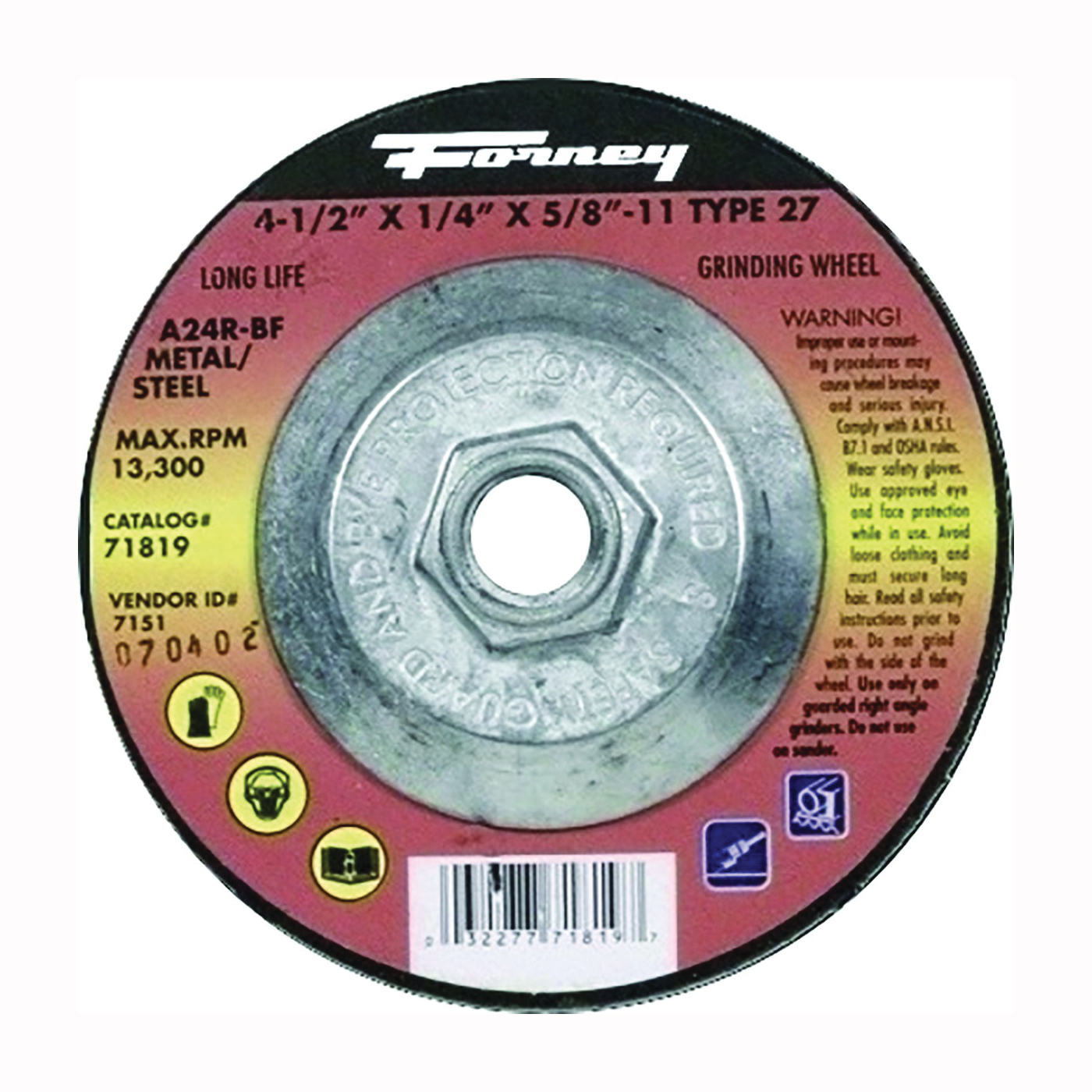 Picture of Forney 71819 Grinding Wheel, 4-1/2 in Dia, 1/4 in Thick, 5/8-11 in Arbor, 24 Grit, Aluminum Oxide Abrasive