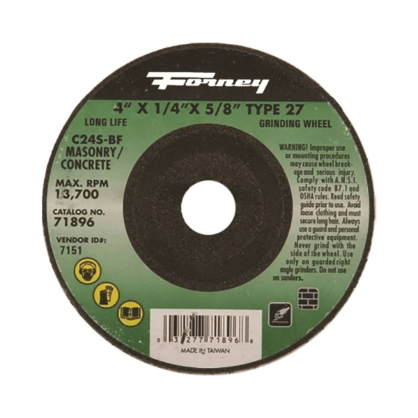 Picture of Forney 71896 Grinding Wheel, 4 in Dia, 1/4 in Thick, 5/8 in Arbor, 24 Grit, Silicone Carbide Abrasive