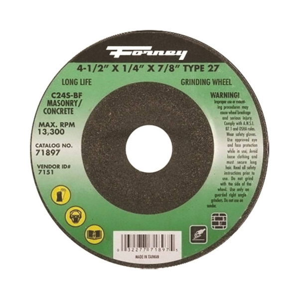 Picture of Forney 71897 Grinding Wheel, 4-1/2 in Dia, 1/4 in Thick, 7/8 in Arbor, 24 Grit, Silicone Carbide Abrasive