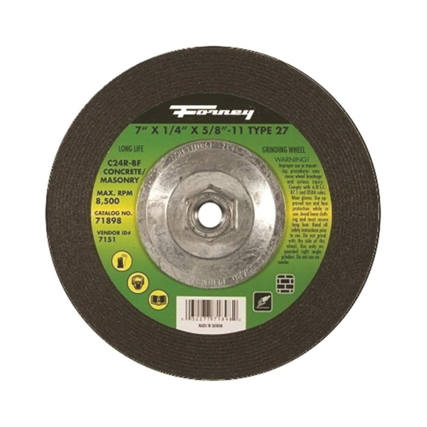 Picture of Forney 71898 Grinding Wheel, 7 in Dia, 1/4 in Thick, 5/8-11 in Arbor, 24 Grit, Silicone Carbide Abrasive