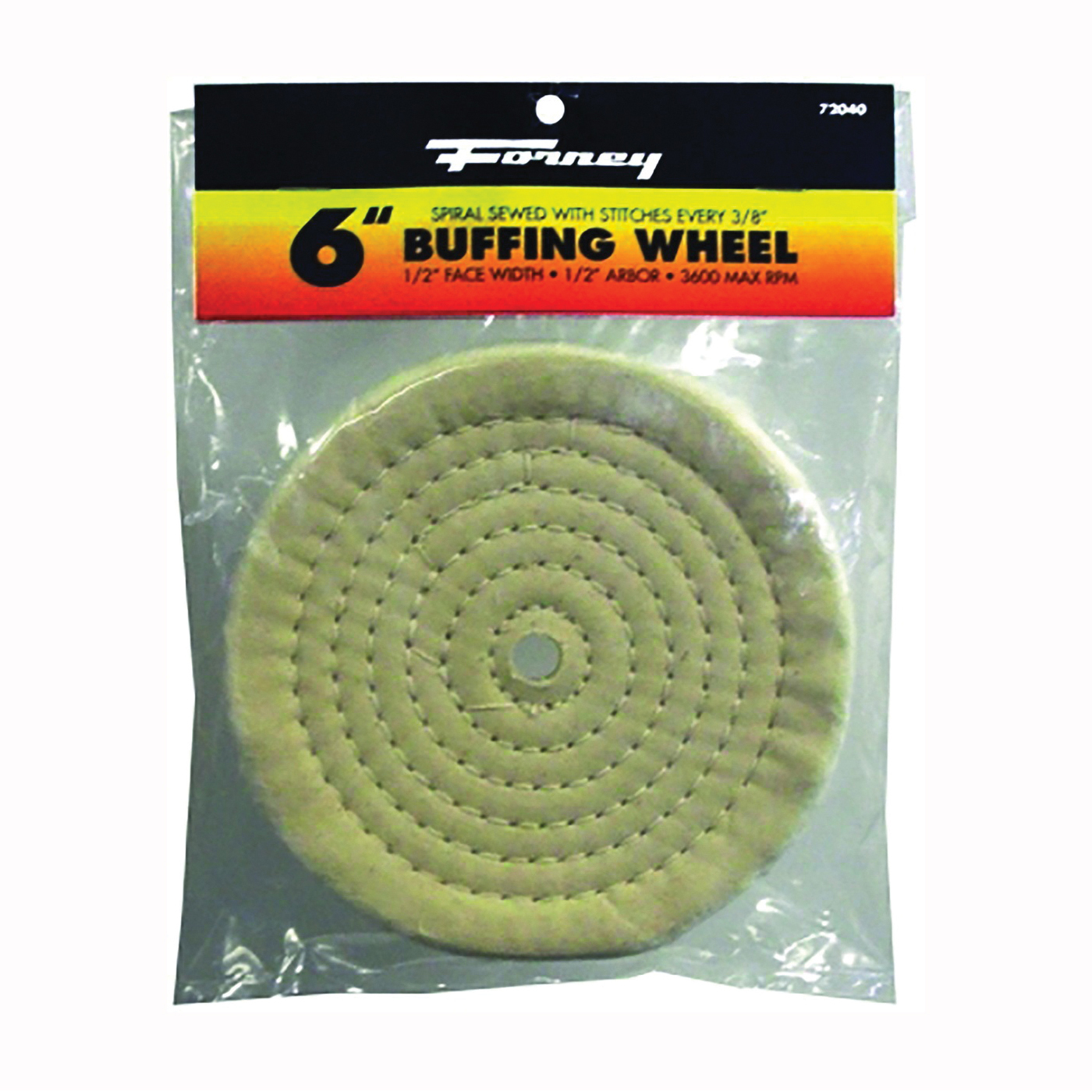 Picture of Forney 72040 Buffing Wheel, 6 in Dia, 1/2 in Thick, 1/2 in Arbor, Cotton
