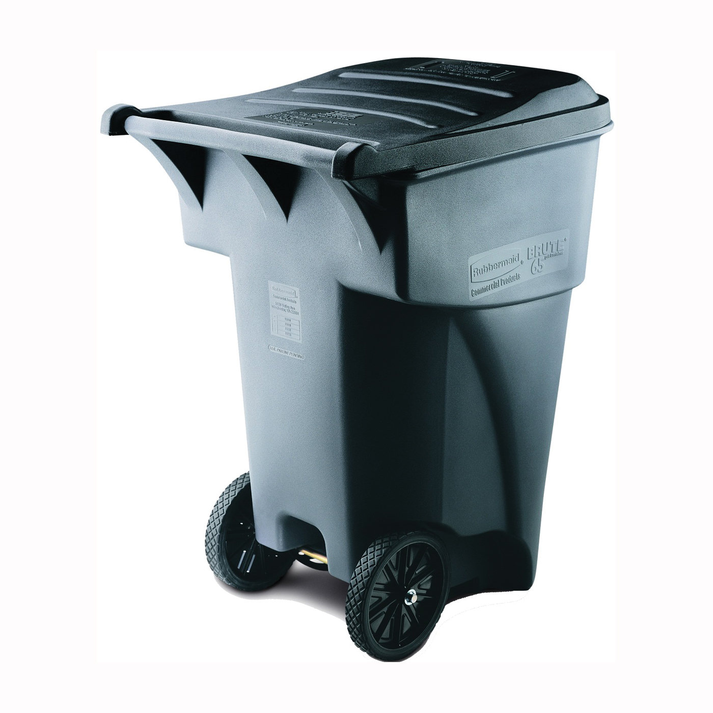 Picture of Rubbermaid FG9W2200GRAY Rollout Container, 95 gal Capacity, Polyethylene, Gray, Lift Up Closure