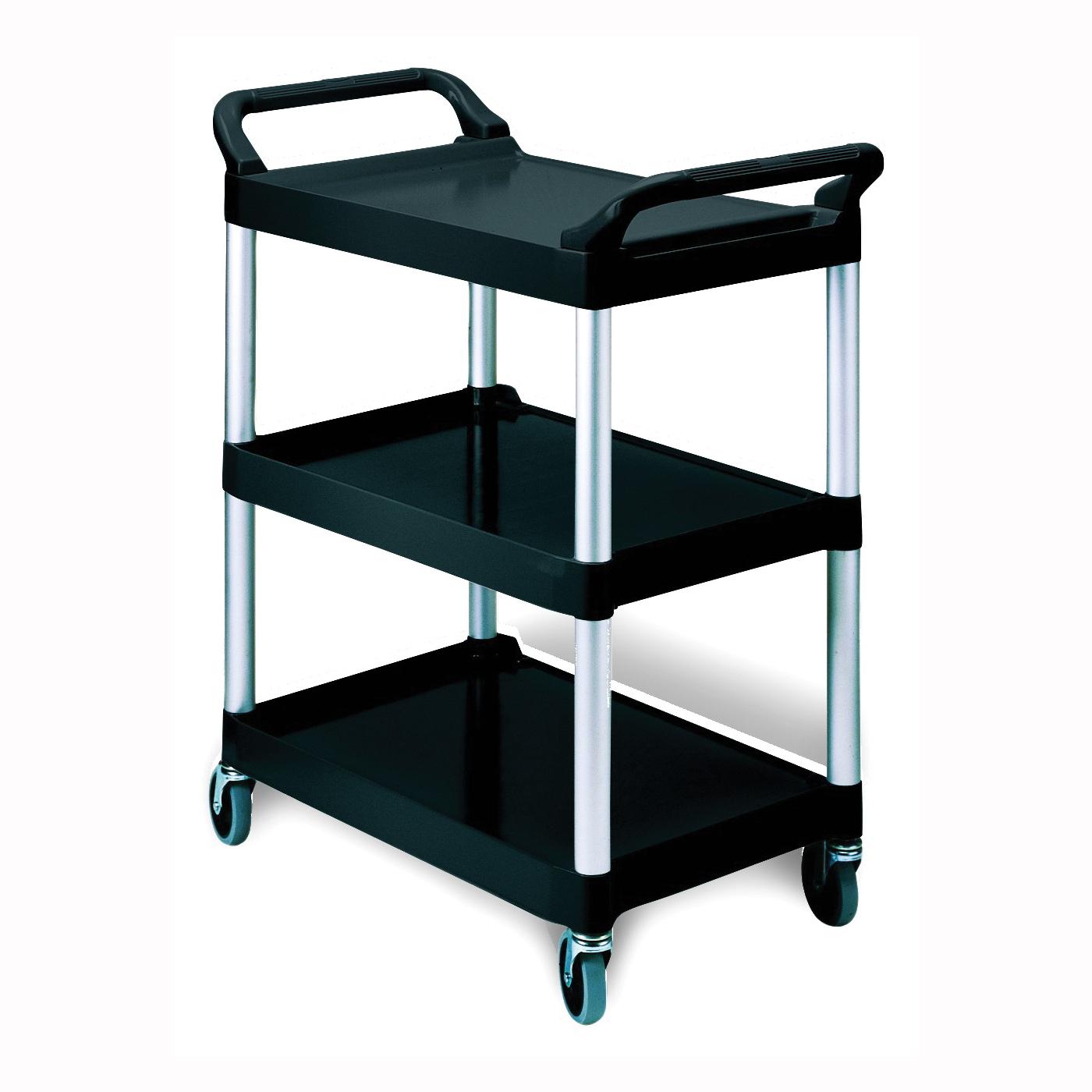 Picture of Rubbermaid FG342488BLA Service Cart, 18.6 in OAW, 37.8 in OAH, 33.6 in OAL, Plastic Shelf, Black Shelf