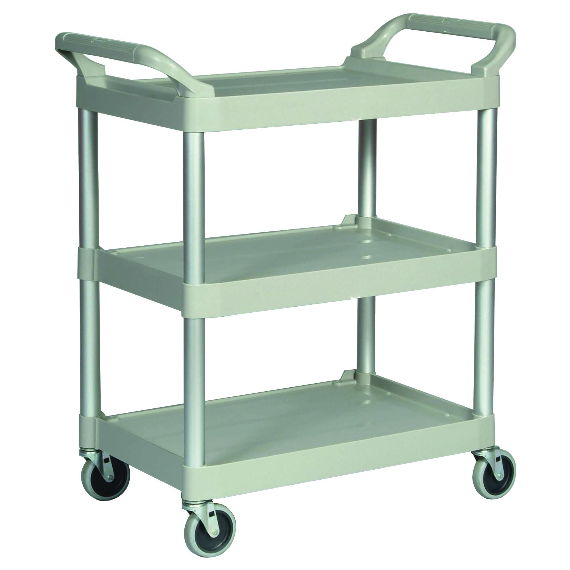Picture of Rubbermaid FG342488PLAT Service Cart, 18.6 in OAW, 37.8 in OAH, 33.6 in OAL, Plastic Shelf, Platinum Shelf