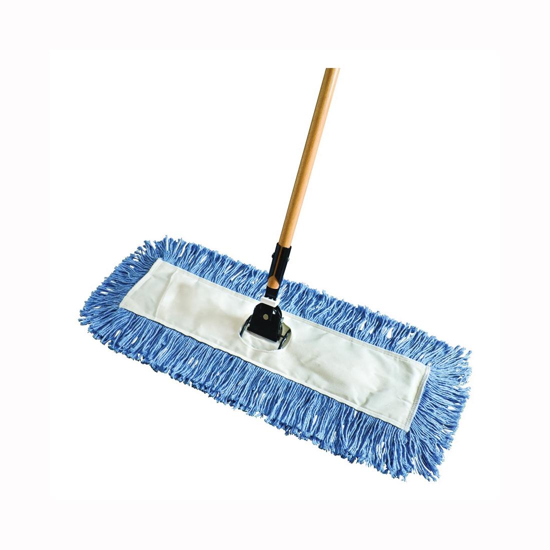 Picture of Rubbermaid FGU83228BL00 Dust Mop, Cotton Head, Wood Handle, 66.4 in L, Blue