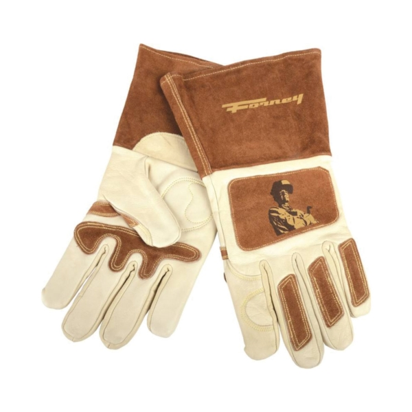Picture of ForneyHide 53411 Welding Gloves, Men's, XL, Gauntlet Cuff, Brown/White, Reinforced Crotch Thumb