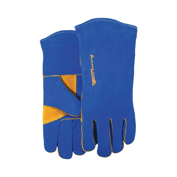 Picture of ForneyHide 53422 Welding Gloves, Men's, L, 13-1/2 in L, Gauntlet Cuff, Leather Palm, Blue, Leather Back