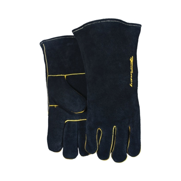 Picture of ForneyHide 53425 Welding Gloves, Men's, L, Gauntlet Cuff, Leather Palm, Black, Wing Thumb, Leather Back