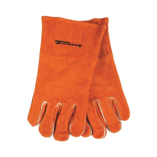 Picture of ForneyHide 53432 Welding Gloves, Men's, XL, Gauntlet Cuff, Leather Palm, Brown, Wing Thumb, Leather Back
