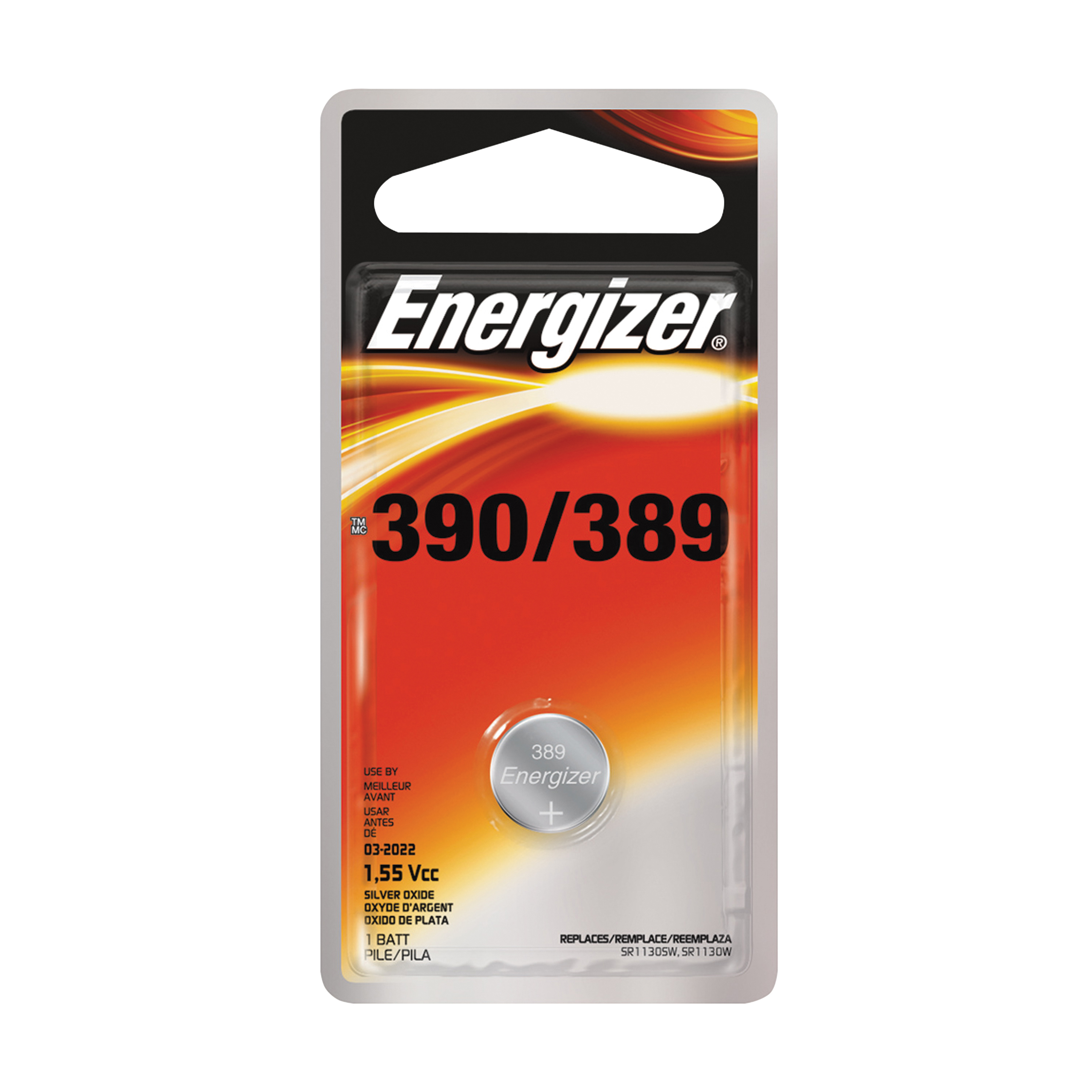 Picture of Energizer 389BPZ Coin Cell Battery, 1.5 V Battery, 52 mAh, 389 Battery, Silver Oxide
