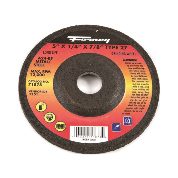 Picture of Forney 71878 Grinding Wheel, 5 in Dia, 1/4 in Thick, 7/8 in Arbor, 24 Grit, Aluminum Oxide Abrasive
