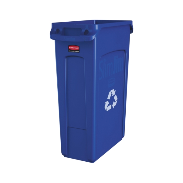 Picture of Rubbermaid FG354075BLUE Recycling Container with Vent Channel, 23 gal Capacity, Plastic, Blue