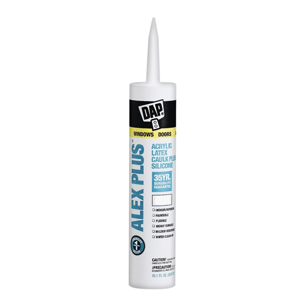 Picture of DAP ALEX PLUS 18156 Acrylic Latex Caulk with Silicone, Clear, -20 to 180 deg F, 10.1 fl-oz Package, Cartridge
